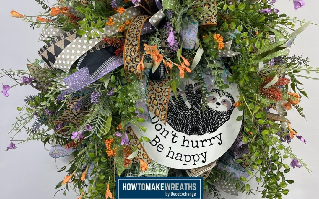 Cheeky Sloth Sign Wreath