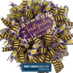 Purple and Gold Mesh Football Wreath