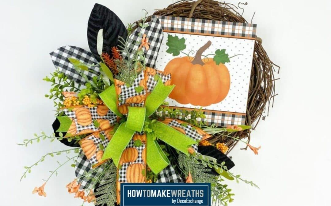 Designer Fall Grapevine Wreath With A Pumpkin Sign