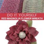DIY Red Magnolia Flower Wreath