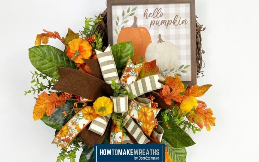 Hello Pumpkin Autumn Grapevine Wreath