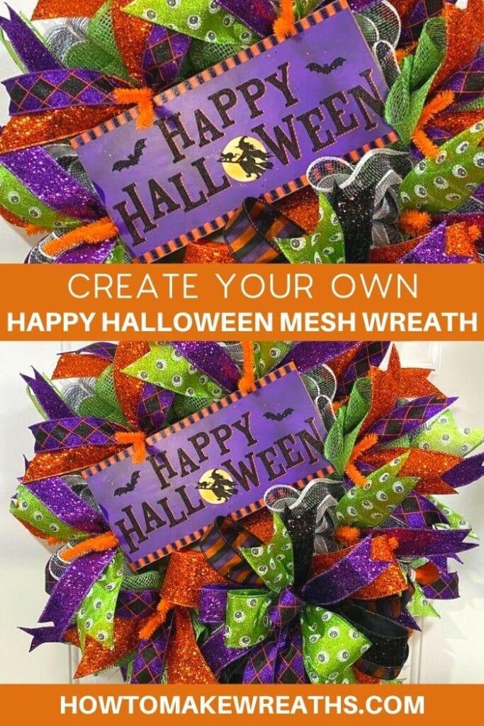 Create Your Own Happy Halloween Mesh Wreath