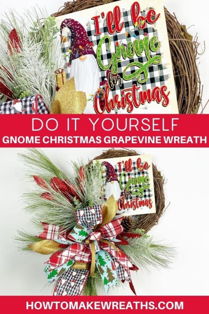 Do It Yourself Gnome Christmas Grapevine Wreath