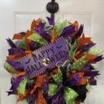 How to Make a Happy Halloween Mesh Wreath