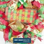 Merry Christmas Wreath with Glitter Ribbon